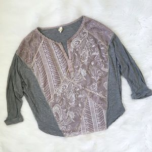 Anthropologie Grey Floral Embroidered Shirt